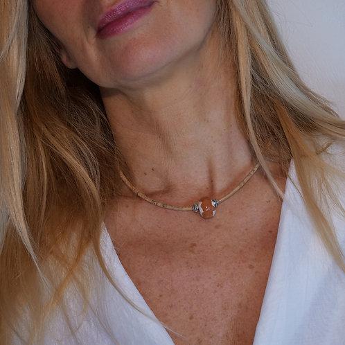 Bijoux Collier  Liège Naturel ceramique Perle  Blanc/Chataigne  femme made in france fabrication artisanale ST CYPRIEN
