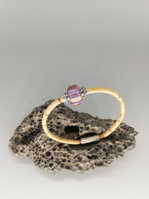 Bracelet Perle de Verre Mauve Tigrée
