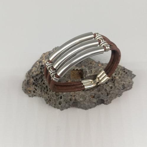 Bracelet Triple Liège Marron Tubulaires Aciers