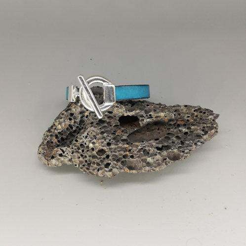 Bracelet Cuir Bleu Anneau Acier