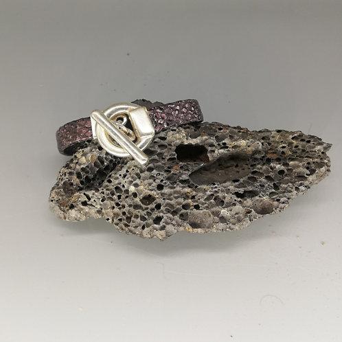 Bracelet Cuir Mauve Serpent Anneau Acier