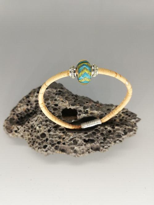 Bracelet Perle de Verre Zèbrée jaune Bleue