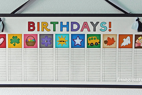 Large Black and White Birthday Calendar