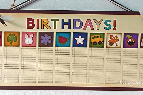 Large Brown & Ivory Antique Birthday Calendar
