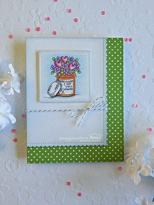 Hugs, Kisses & Get Well Wishes card (dots)
