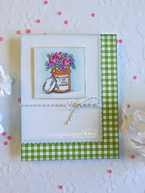 Hugs, Kisses & Get Well Wishes card (gingham)