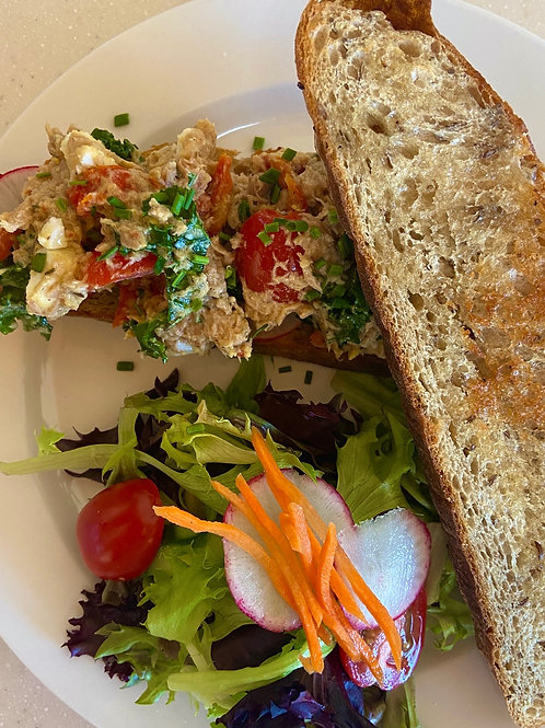 Tuna Salad on Rye with side salad