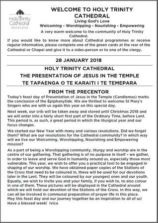 Newsletter 28 January, 2018