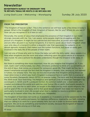 Newsletter - Sunday 26 July