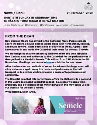 Newsletter - Sunday 25 October