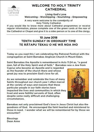 Newsletter 10 June, 2018