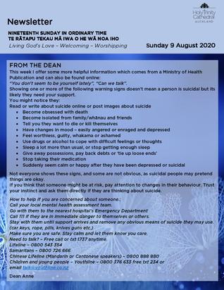Newsletter - Sunday 9 August