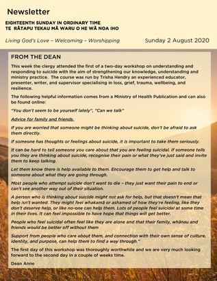 Newsletter - Sunday 2 August