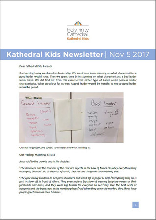 Kathedral Kids News 5 November 2017