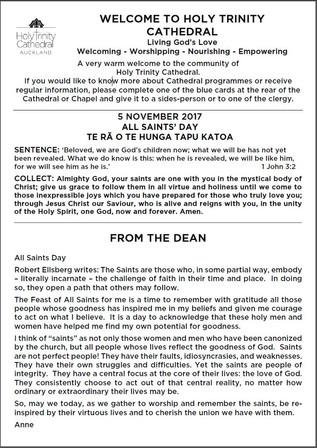 Newsletter 5 November, 2017