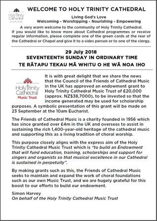 Newsletter 29 July, 2018