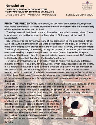 Newsletter - Sunday 28 June