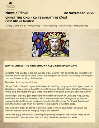 Newsletter - Sunday 22 november