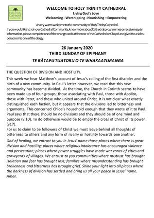 Newsletter 26 January