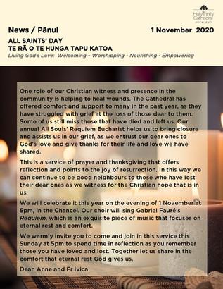 Newsletter - Sunday 1 november
