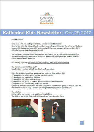 Kathedral Kids Newsletter 29 October