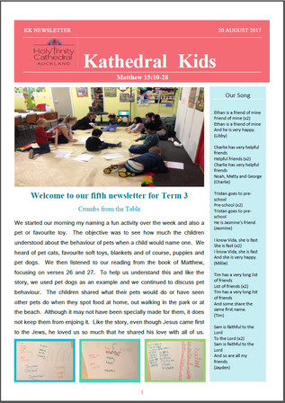 Kathedral Kids Newsletter 20 August 2017