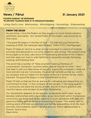 Newsletter - Sunday 31 January