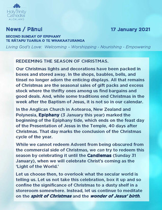 Newsletter - Sunday 17 January