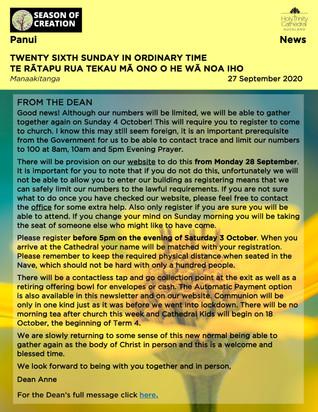 Newsletter - Sunday 27 September