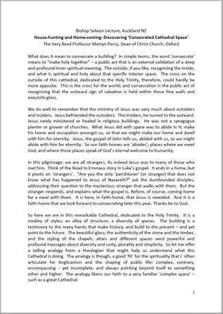 2017 Bishop Selwyn Lecture Transcript