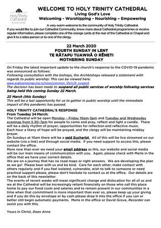 Newsletter 22 March
