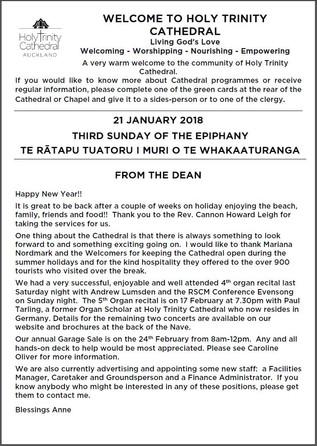 Newsletter 21 January, 2018