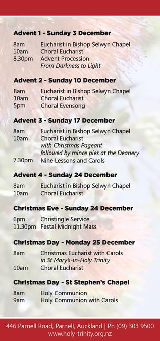2017 Christmas Service Times