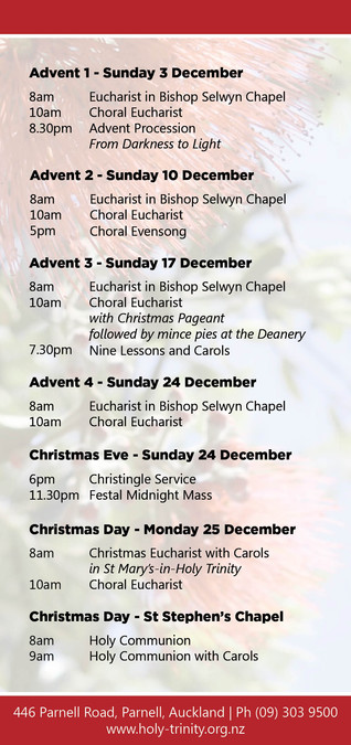2017 Christmas Service Times