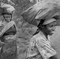 Butare, secteur Mpungwe, le 8 avril 2004.  Les femmes représentent la majorité de la population et 60 % de sa main-d'œuvre. Elles sont la base de l'économie agricole (collecte de l'eau, travail aux champs, éducation des enfants, …)
