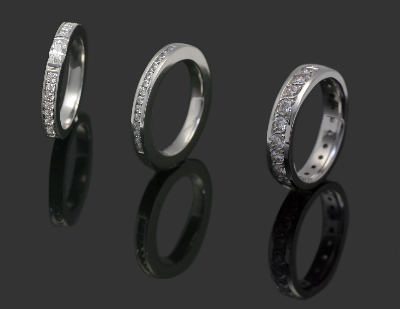 Trio of silver rings