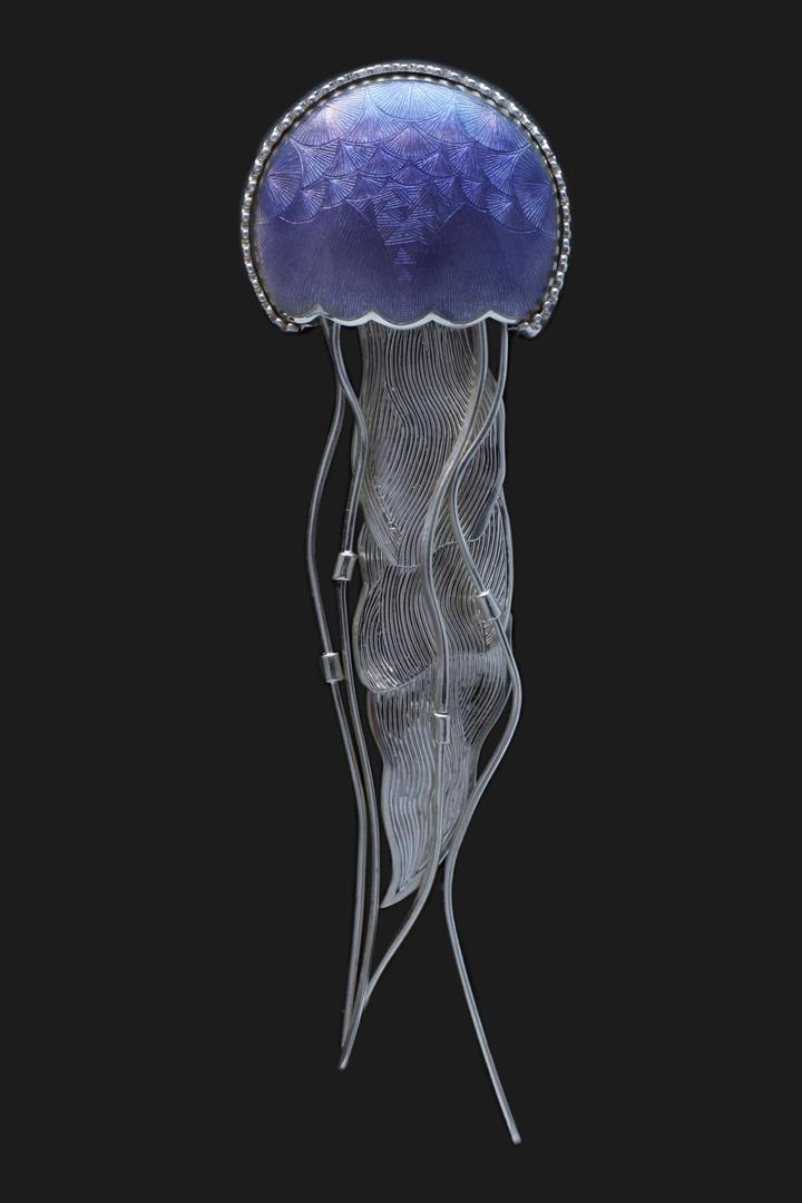 Blue enamelled jellyfish brooch