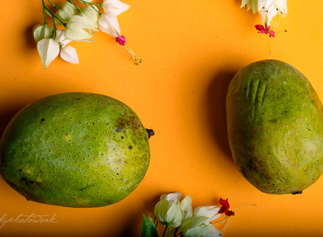 A still life photograph of mango