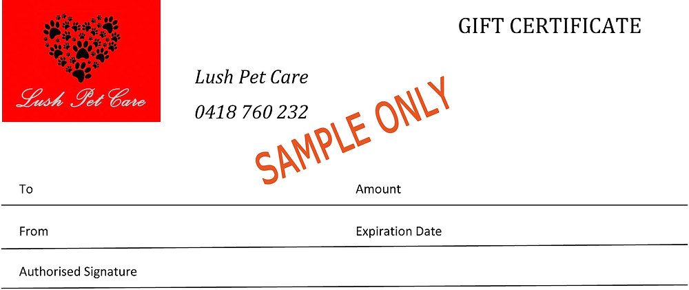 Lush Pet Care Gift Certificate, Gift Voucher