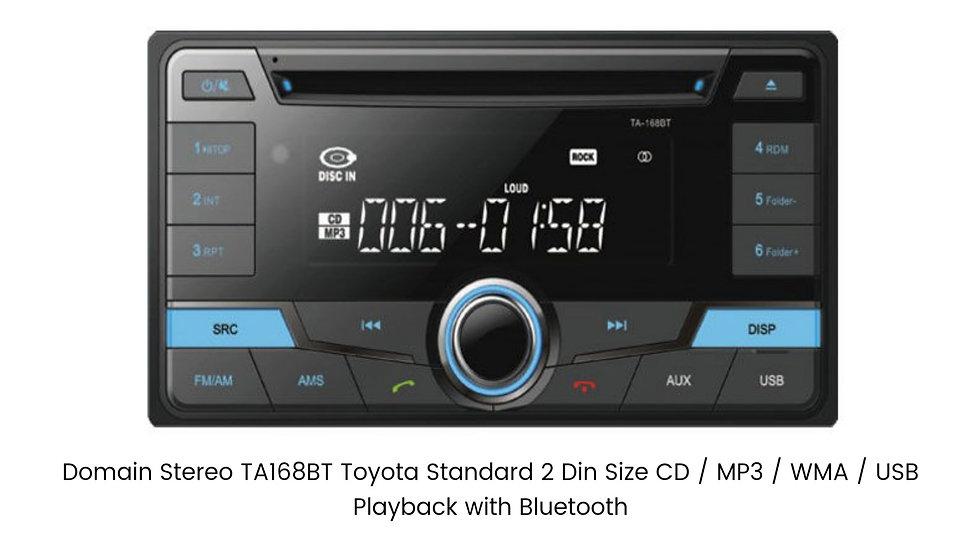 Domain Stereo TA168BT Toyota Standard 2 Din Size CD / MP3 / WMA / USB Playback w