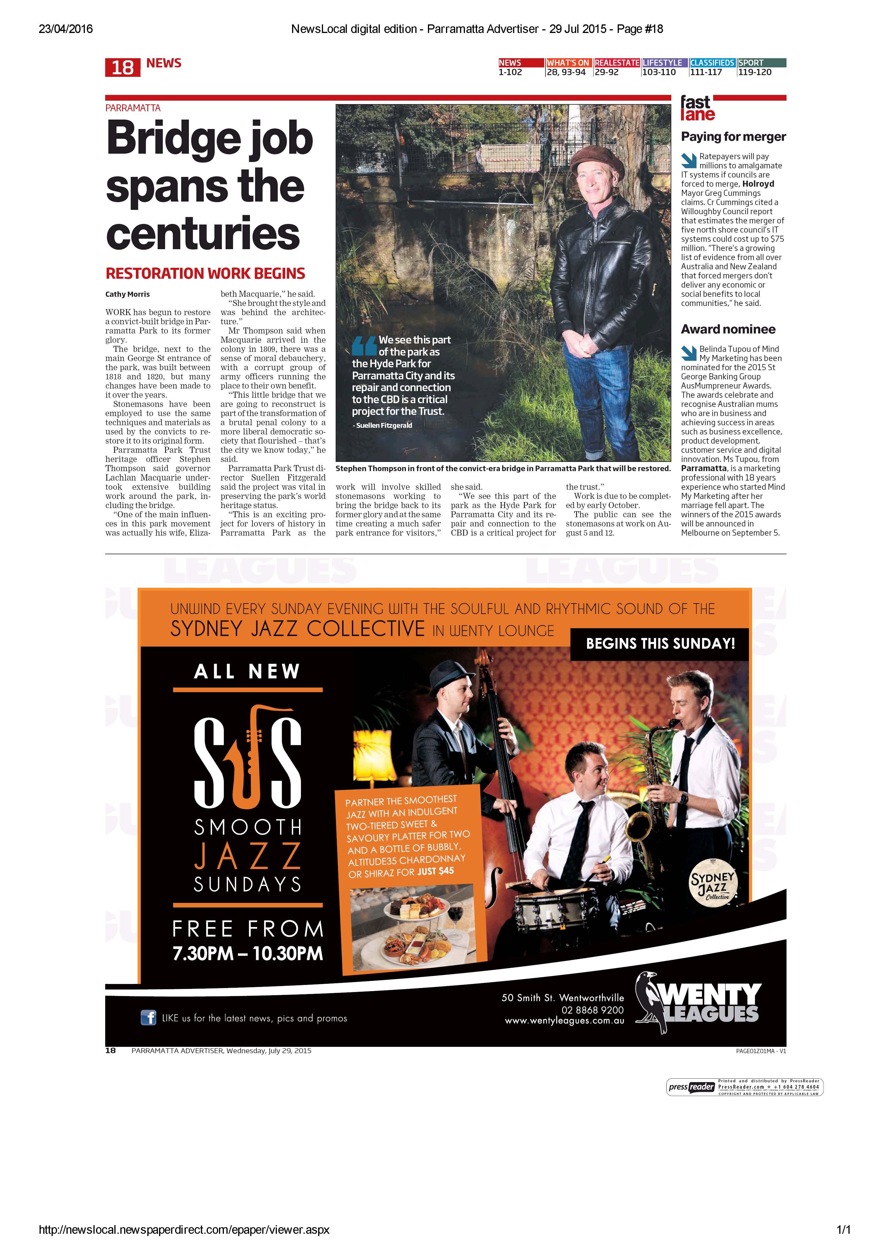 Parramatta Advertiser article 150729