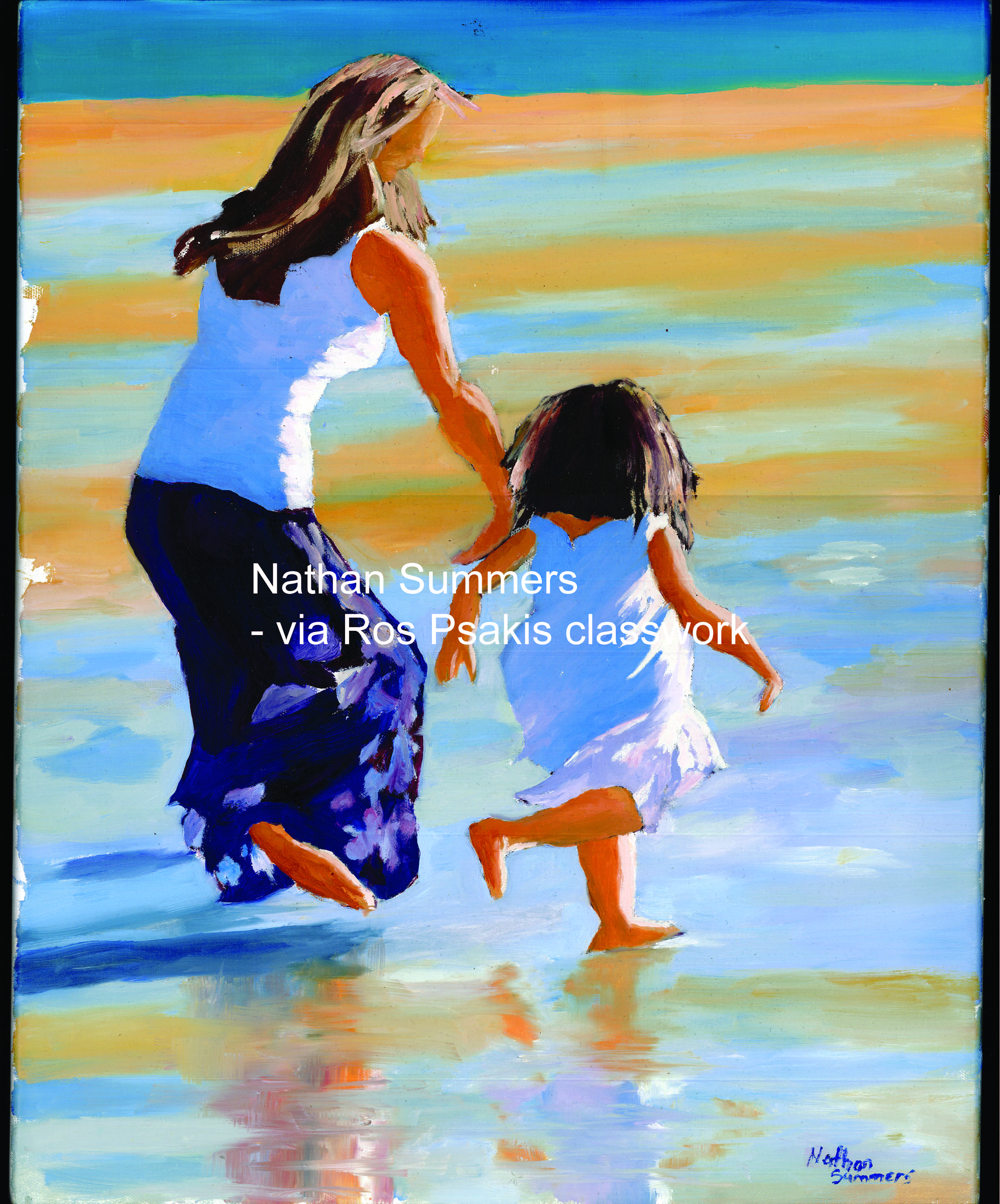 Running on beach, Girl and Mother