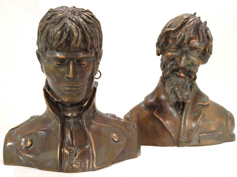 Bustes en bronze Corto et Raspoutine