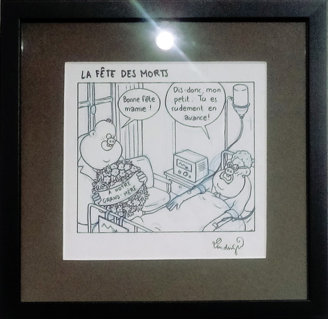"Lindingue Fluide Glacial ""La fête des morts"" dessin original"