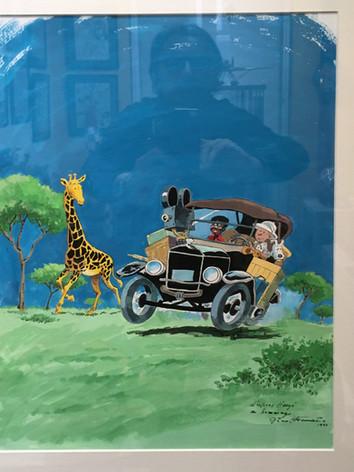 """Attanasio """"Hommage à Hergé - Tintin au Congo"""" dessin original"""