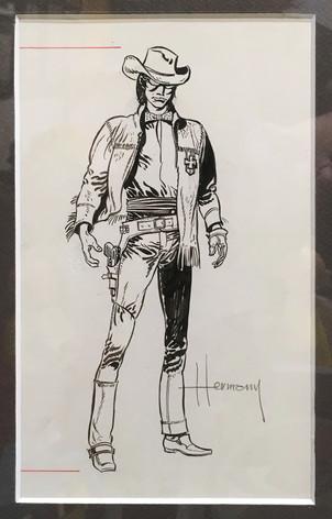 """Herman """"Cowboy"""" pour le journal Tintin dessin original"""