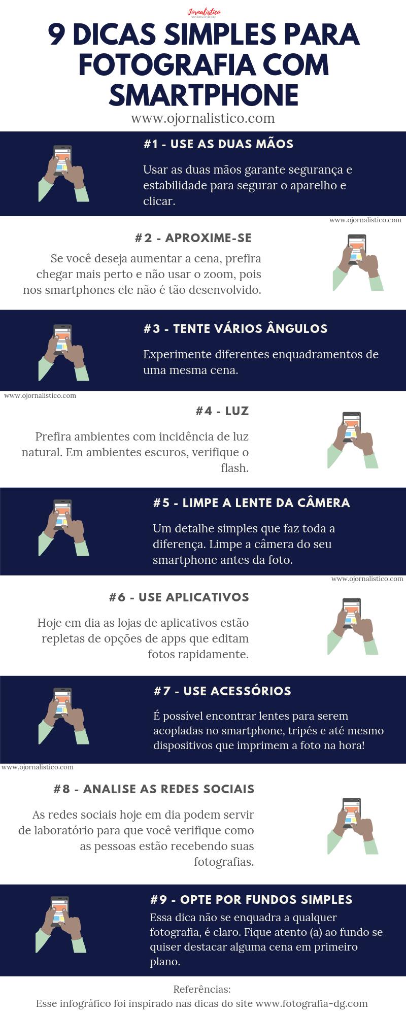 infográfico com 9 dicas simples para fotografar com smartphone fazer fotos com o celular
