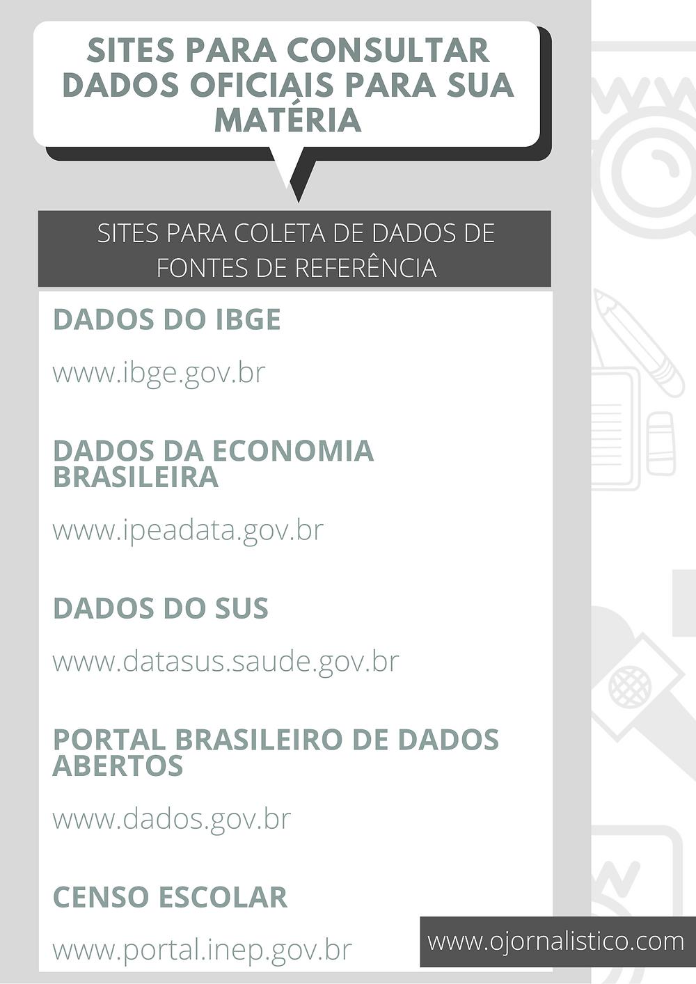 sites para conseguir dados oficiais para sua matéria jornalística