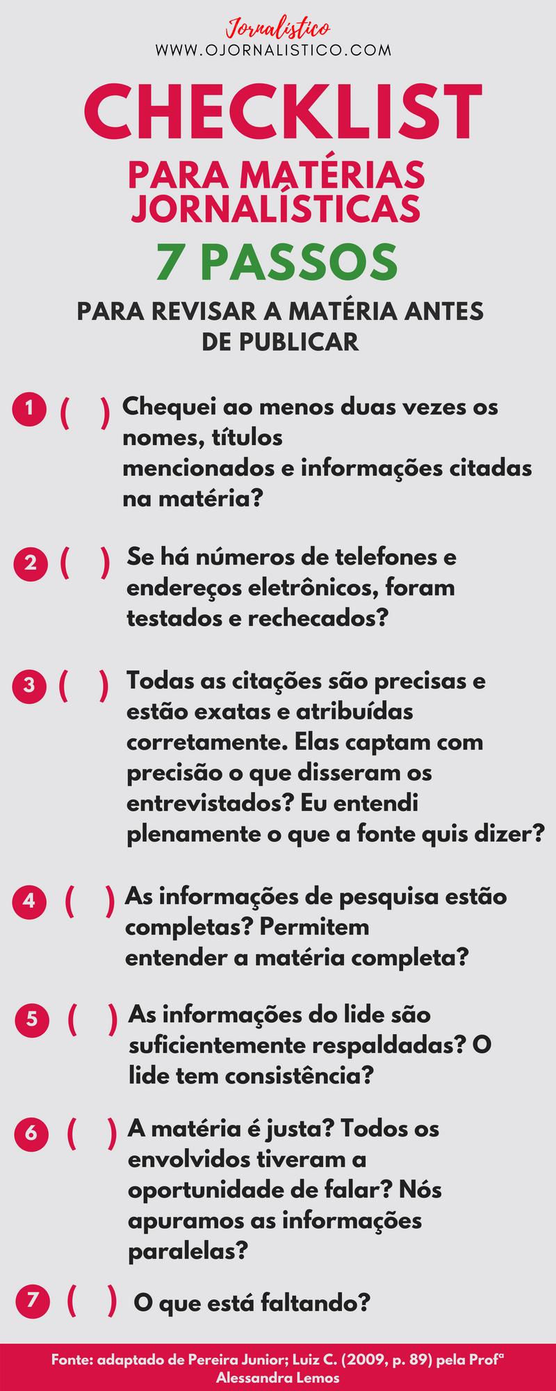 checklist para matérias jornalísticas 7 passos para revisar a matéria jornalística