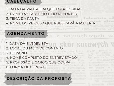 Quais são os itens essenciais de uma Pauta Jornalística?